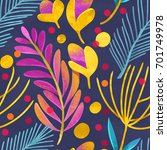 seamless floral pattern on... | Shutterstock . vector #701749978