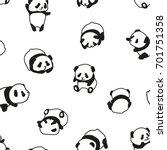 panda bear pattern seamless... | Shutterstock .eps vector #701751358