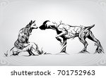 unforeseen meeting on hunting  | Shutterstock .eps vector #701752963