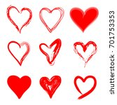 hand drawn red hearts in grunge ... | Shutterstock .eps vector #701753353