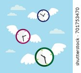 Clock With Wings Flying In The...