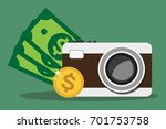 photo camera and money isolated ... | Shutterstock .eps vector #701753758