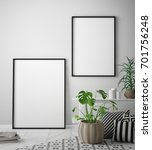 mock up poster frame in pastel... | Shutterstock . vector #701756248