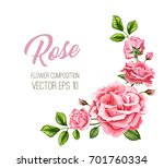 vector realistic rose flower... | Shutterstock .eps vector #701760334