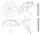 set of umbrellas sketches.... | Shutterstock .eps vector #701761594