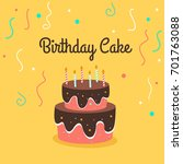 playful birthday cake with... | Shutterstock .eps vector #701763088