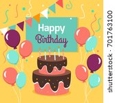 happy birthday party card with... | Shutterstock .eps vector #701763100