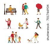 Stock vector autumn people characters collection flat style vector illustration 701766934