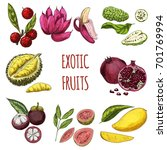 exotic fruits  vector hand... | Shutterstock .eps vector #701769994
