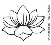 Lotus Flower Black White Cartoon Illustration Stock Vektorgrafik