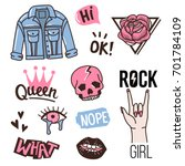 fashion cute patches or... | Shutterstock .eps vector #701784109