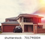 picture of house in sunset | Shutterstock . vector #701790004