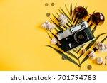 flat lay traveler accessories... | Shutterstock . vector #701794783