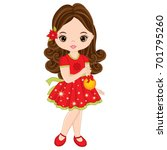 vector cute little girl with... | Shutterstock .eps vector #701795260