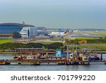 Small photo of SINGAPORE, MALAYSIA - Feb 06, 2017: The landing stage of the hovercrafts rescue station of the Singapore Airport Emergency Service (AES) next to Changi Airport.