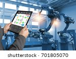 engineer hand using tablet ... | Shutterstock . vector #701805070