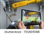 industry 4.0 concept .man hand... | Shutterstock . vector #701805088