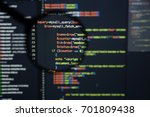 Small photo of Real Php code developing screen. Programing workflow abstract algorithm concept. Lines of Php code visible under magnifying lens.
