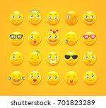 cute cartoon emoticons. emoji...   Shutterstock .eps vector #701823289