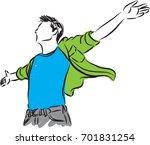 man freedom concept vector... | Shutterstock .eps vector #701831254