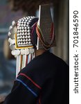 Small photo of detail of hat ,costume of akha tribe people