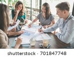 diverse business team meeting... | Shutterstock . vector #701847748
