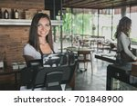 portrait of attractive cafe... | Shutterstock . vector #701848900