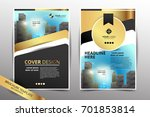 gold brochure cover   flyer ... | Shutterstock .eps vector #701853814