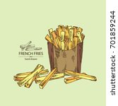 background with french fries.... | Shutterstock .eps vector #701859244