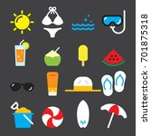 summer color icons   Shutterstock .eps vector #701875318