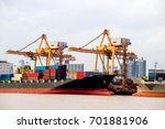 shipping industrial trade port. ... | Shutterstock . vector #701881906