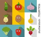 healthy vegetables icons set....   Shutterstock .eps vector #701897956