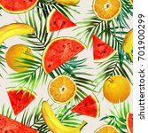 fruits seamless pattern.... | Shutterstock . vector #701900299