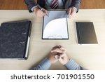 job interview  young attractive ... | Shutterstock . vector #701901550