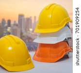safety helmet stacked in the... | Shutterstock . vector #701909254
