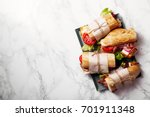 fresh baguette sandwich bahn mi ...   Shutterstock . vector #701911348