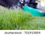 green lawn and lawn mower | Shutterstock . vector #701915854