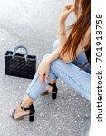 women's legs in blue cropped...   Shutterstock . vector #701918758