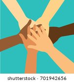 people putting their hands... | Shutterstock .eps vector #701942656