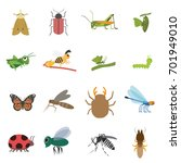 insect icon set in flat style | Shutterstock .eps vector #701949010