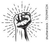 monochrome illustration of fist ...   Shutterstock . vector #701949124