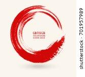 red ink round stroke on white...   Shutterstock .eps vector #701957989