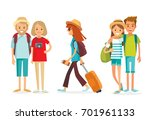 vector set of people traveling | Shutterstock .eps vector #701961133