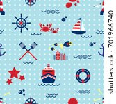seamless pattern with sailing ... | Shutterstock .eps vector #701966740