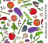 vegetables pattern seamless...   Shutterstock .eps vector #701976766