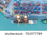 container ship in import export ... | Shutterstock . vector #701977789