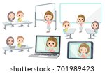 set of various poses of meeting ... | Shutterstock .eps vector #701989423