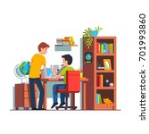 two student friends studying... | Shutterstock .eps vector #701993860