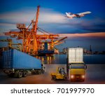 forklift handling container box ... | Shutterstock . vector #701997970