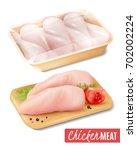 set of chicken meat in... | Shutterstock .eps vector #702002224